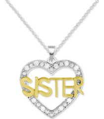 """diamond sister heart 18"""" pendant necklace (1/10 ct. t.w.) in sterling silver & gold-plate"""