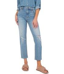 women's kut from the kloth elizabeth high waist crop straight leg jeans, size 2 - blue