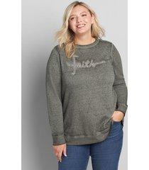 lane bryant women's faith graphic sweatshirt 18/20 grey