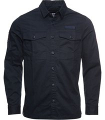 superdry men's core military-inspired patched long sleeved shirt