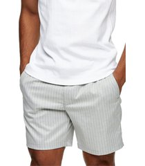 topman stripe regular fit pull-on shorts, size 38 in grey at nordstrom