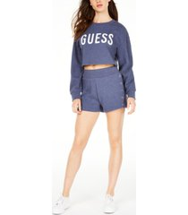 guess snap cropped cotton sweatshirt