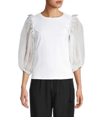 lea & viola women's tulle puff-sleeve top - white - size m