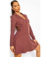 blazer jurk met korset veter taille detail, dark mauve