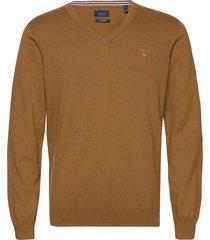 cotton wool v-neck stickad tröja v-krage brun gant