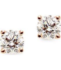 diamond trend four-prong 14k rose gold & diamond stud earrings