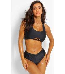 mix & match bikini met grotere cupmaat en v-vormig bikini broekje met hoge taille, zwart