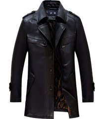 men leather coat winter long  leather coat genuine real leather trench coat-uk7