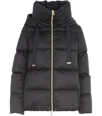 herno hooded padded jacket w/satin cape