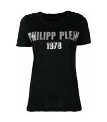 philipp plein camiseta com logo metálico - preto