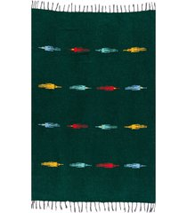 native yoga thunderbird blanket green cotton