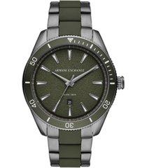 ax armani exchange men's enzo gunmetal stainless steel & green silicone bracelet watch 46mm