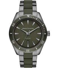 ax armani exchange men's enzo gunmetal stainless steel & green silicone bracelet watch 46mm