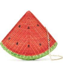 serpui watermelon straw clutch bag - red