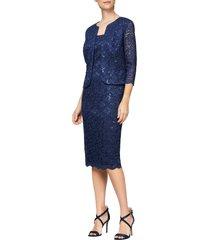 women's alex evenings sequin lace shift dress with jacket, size 16 - blue