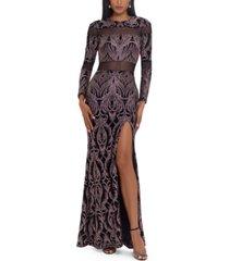 betsy & adam cutout-mesh glitter gown