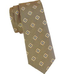 canali men's floral medallion silk tie - green
