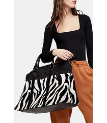 black and white zebra print large weekend bag - monochrome