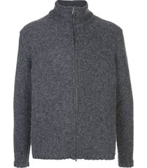 massimo alba zip-up cardigan - grey