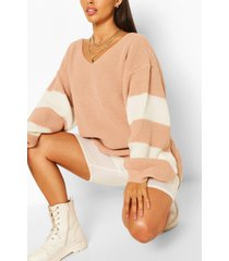 stripe sleeve v neck sweater, nude
