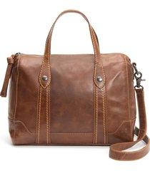 frye melissa double handle leather satchel - brown