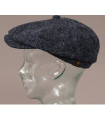 stetson hatteras donegal tweed cap - blue 6840601-422
