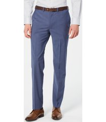 dkny men's modern-fit stretch blue mini-check suit pants