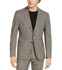 armani exchange men's classic-fit tan glen plaid suit jacket, created for macy's