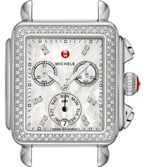 women's michele deco diamond diamond dial watch head, 33mm x 35mm
