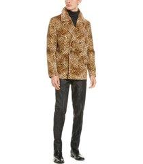 tallia men's slim-fit tan & black cheetah print velvet double breasted peacoat