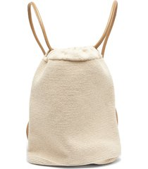 oval hand-crocheted cotton-blend backpack