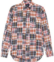 men's drake's patchwork madras cotton button-down shirt