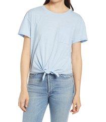 women's caslon crewneck tie front t-shirt, size xx-large - blue
