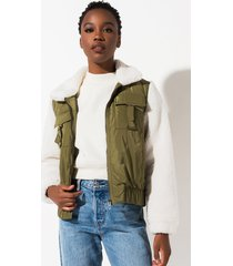 akira blank nyc take it easy sherpa bomber jacket