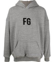 fear of god fleece monogram hoodie - grey