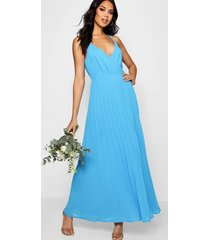boutique pleated maxi bridesmaid dress, horizon blue
