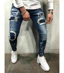 parche de agujero rasgado retro lavado a la moda para hombre ajuste ajustado jeans