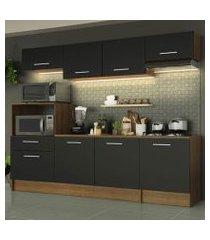 cozinha completa madesa onix 240001 com armário e balcão rustic/preto rustic/preto