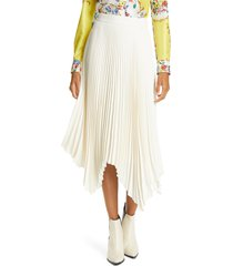women's tory burch sunburst pleat midi skirt, size 0 - ivory