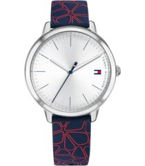tommy hilfiger women's navy & red floral silicone strap watch 35mm, created for macy's