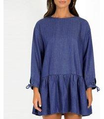 zanzea lace up crew largo de la manga parte posterior del cuello con volantes botones patchwork por encima de la rodilla vestido sólido suelto otoño las mujeres mini vestido m-5xl azul -azul