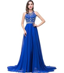 elegant royal blue beaded chiffon prom / evening gown dress