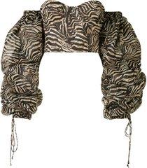 laquan smith blusa com estampa de zebra - marrom