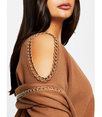 river island womens plus brown chain cold shoulder jumper