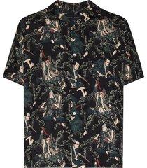 desmond & dempsey samurai print pajama shirt - black
