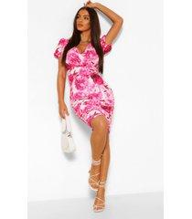 gebloemde mini-jurk met pofmouwen met ruches aan de zijkant, warm roze