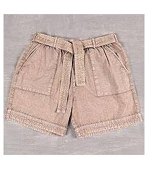 cotton shorts, 'summer relaxation in khaki' (india)