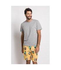 pijama curto estampado de meia malha - panda pai acuo masculino