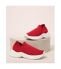 tênis meia infantil knit pronick vermelho