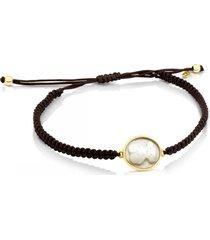 pulsera camee de oro, nácar y cordón en color marrón